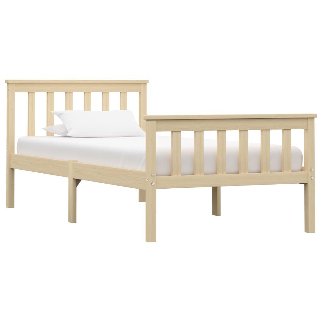 Rám postele světlé dřevo masivní borovice 100 x 200 cm