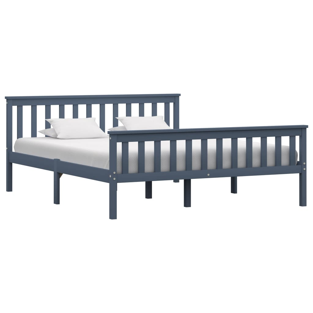 vidaXL Cadru de pat, gri, 160 x 200 cm, lemn masiv de pin vidaxl.ro