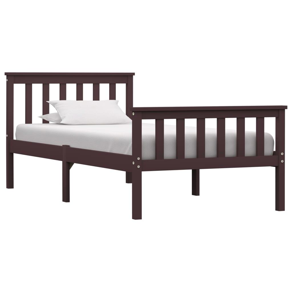 vidaXL Cadru de pat, maro închis, 90 x 200 cm, lemn masiv de pin poza 2021 vidaXL