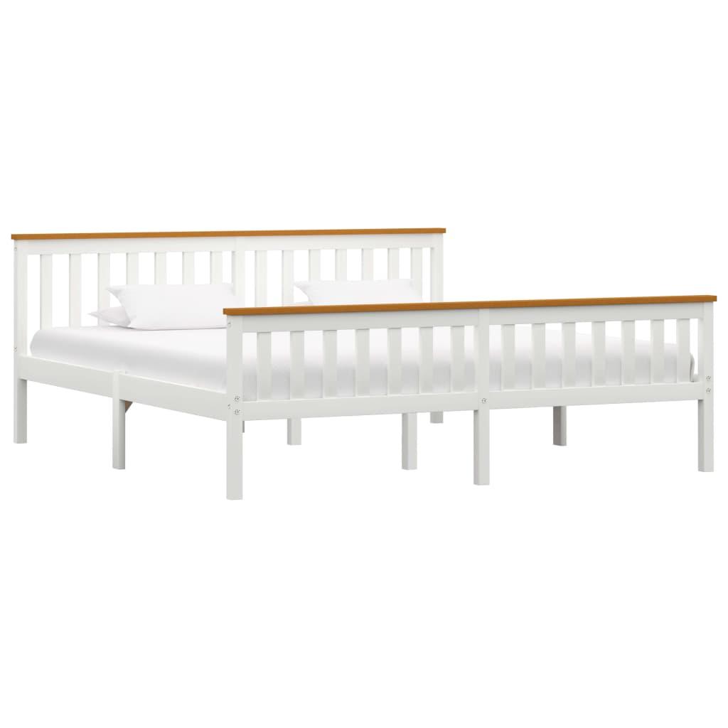 vidaXL Πλαίσιο Κρεβατιού Λευκό 180 x 200 εκ. από Μασίφ Ξύλο Πεύκου