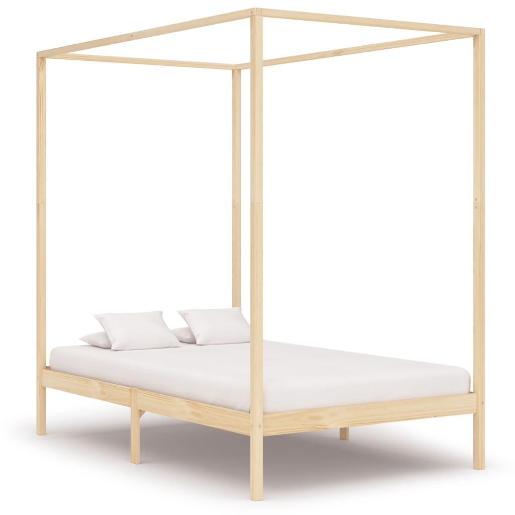 vidaXL Cadru pat cu baldachin, 140 x 200 cm, lemn masiv de pin vidaxl.ro