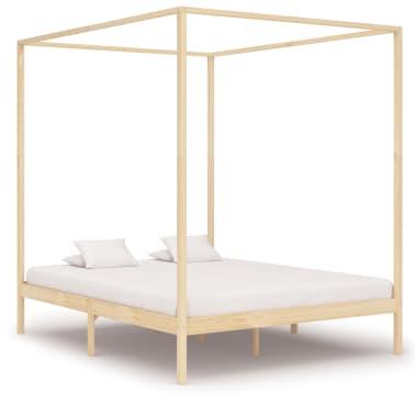 vidaXL Lovos rėmas su baldakimu, 160x200cm, pušies medienos masyvas[2/7]