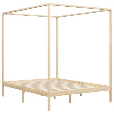 vidaXL Lovos rėmas su baldakimu, 160x200cm, pušies medienos masyvas[3/7]