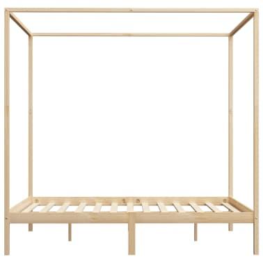 vidaXL Lovos rėmas su baldakimu, 160x200cm, pušies medienos masyvas[4/7]