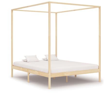 vidaXL Lovos rėmas su baldakimu, 160x200cm, pušies medienos masyvas[1/7]