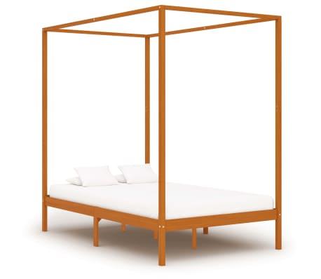 vidaXL Cadru pat cu baldachin, maro miere, 120x200 cm, lemn masiv pin