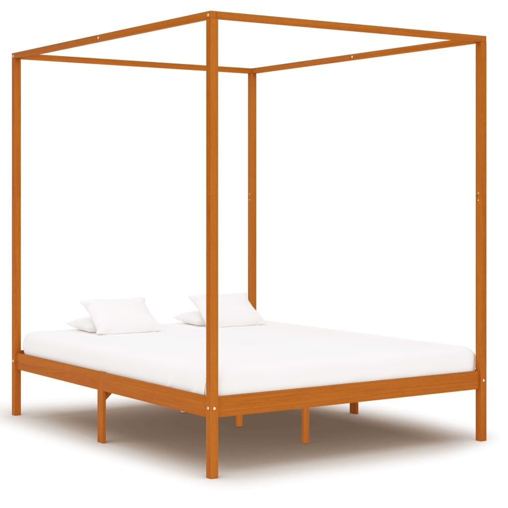 vidaXL Cadru pat cu baldachin, maro miere, 160x200 cm, lemn masiv pin vidaxl.ro