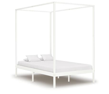 vidaXL Rama łóżka z baldachimem, biel, lite drewno sosnowe, 120x200 cm