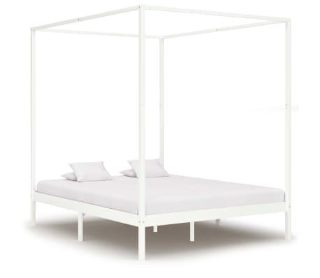 vidaXL Rama łóżka z baldachimem, biel, lite drewno sosnowe, 180x200 cm