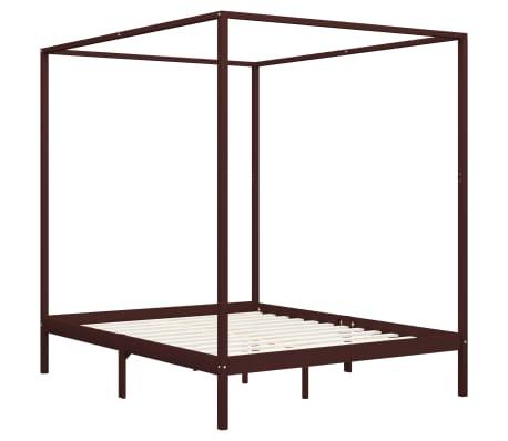 vidaXL Rama łóżka z baldachimem, ciemnobrązowa, lita sosna, 180x200 cm