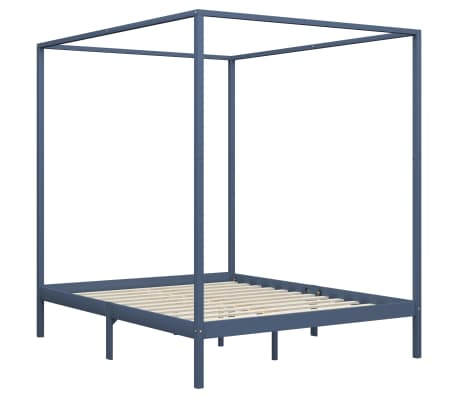 vidaXL Cadru pat cu baldachin, gri, 160 x 200 cm, lemn masiv de pin