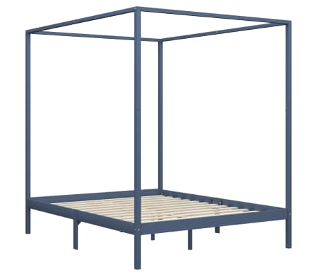 vidaXL Cadru pat cu baldachin, gri, 180 x 200 cm, lemn masiv de pin