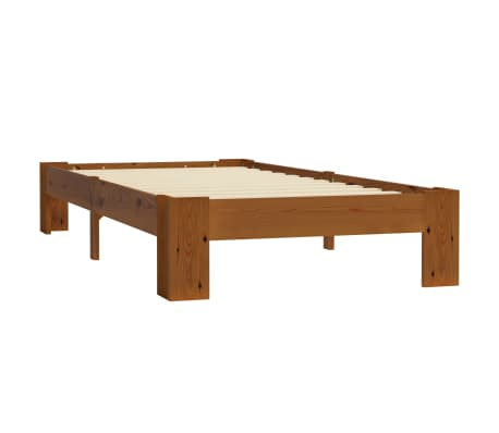 vidaXL Cadru de pat, maro deschis, 100 x 200 cm, lemn masiv de pin[2/6]
