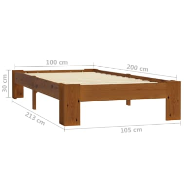vidaXL Cadru de pat, maro deschis, 100 x 200 cm, lemn masiv de pin[6/6]