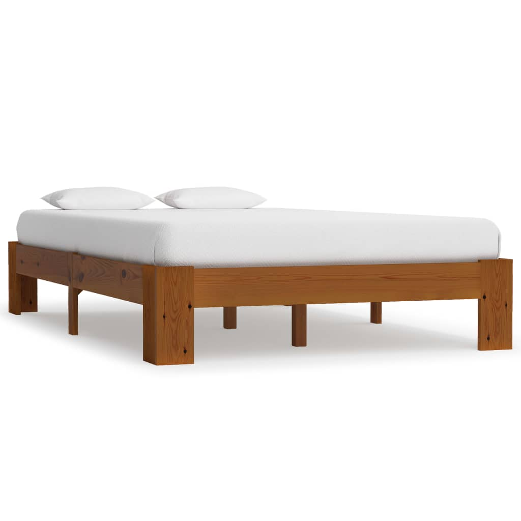 vidaXL Cadru de pat, maro deschis, 120 x 200 cm, lemn masiv de pin poza vidaxl.ro