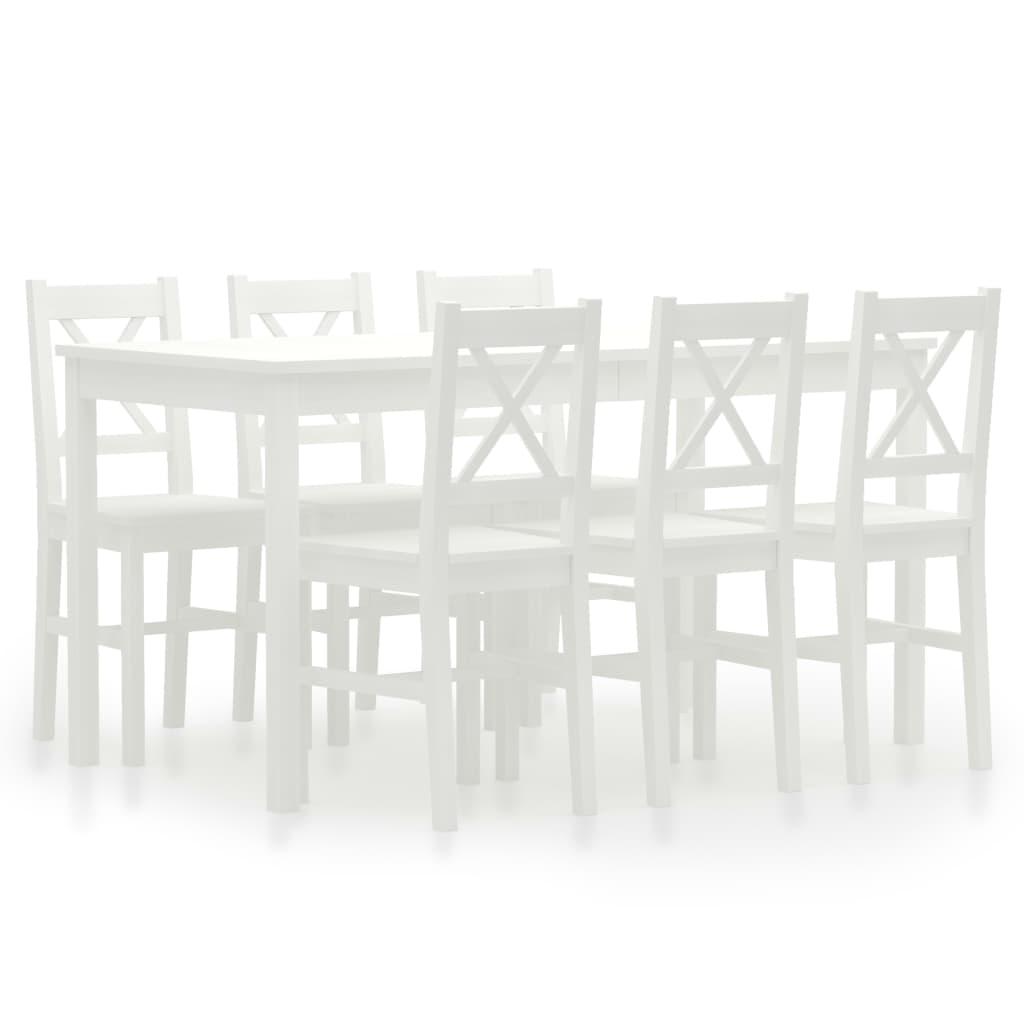 vidaXL 7-dijelni blagovaonski set od borovine bijeli