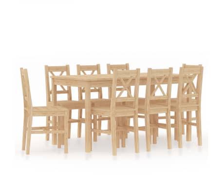 vidaXL 9dílný jídelní set borové dřevo