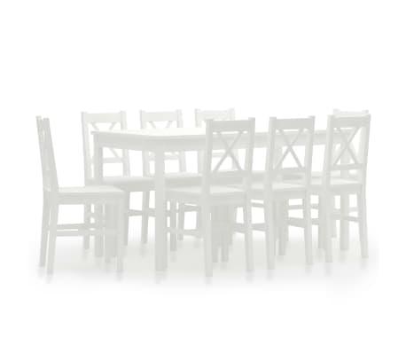 vidaXL 9dílný jídelní set borové dřevo bílý
