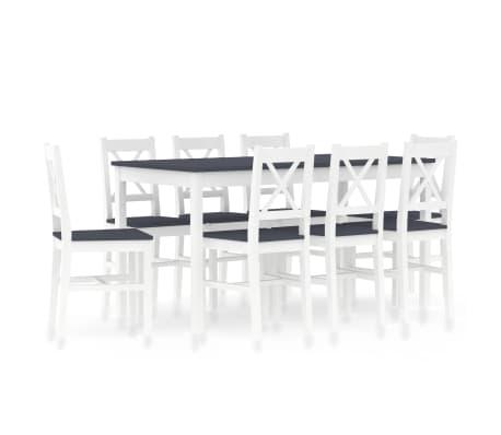 vidaXL 9dílný jídelní set borové dřevo bílo-šedý