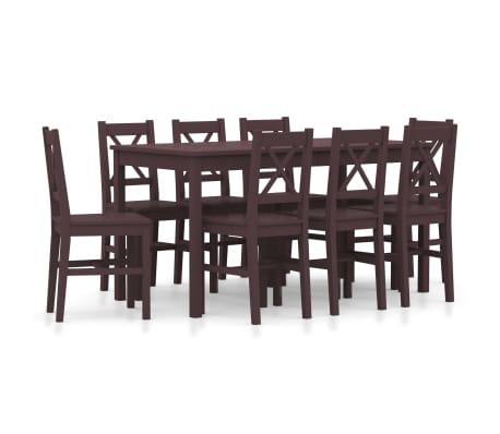 vidaXL 9dílný jídelní set borové dřevo tmavě hnědý