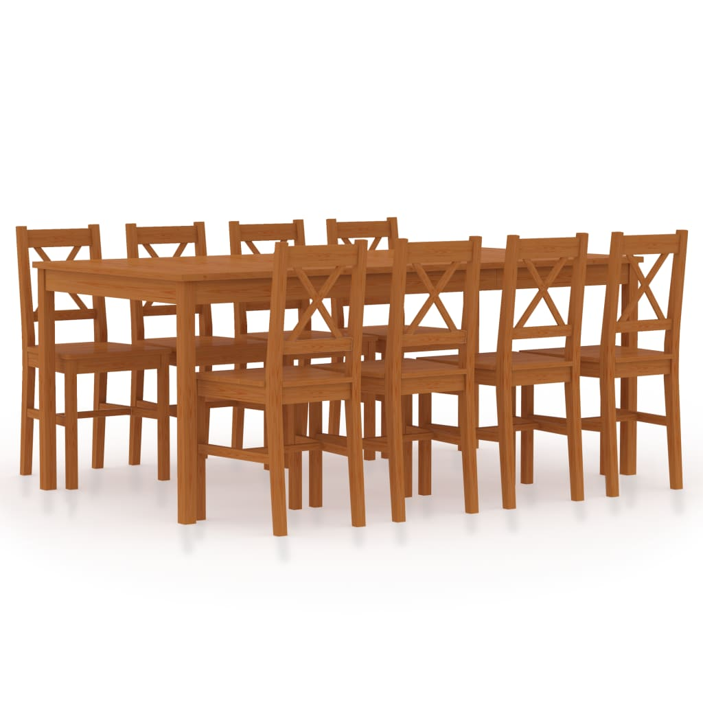 vidaXL Set mobilier de bucătărie, 9 piese, maro miere, lemn de pin poza vidaxl.ro