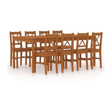 vidaXL 9dílný jídelní set borové dřevo medově hnědý