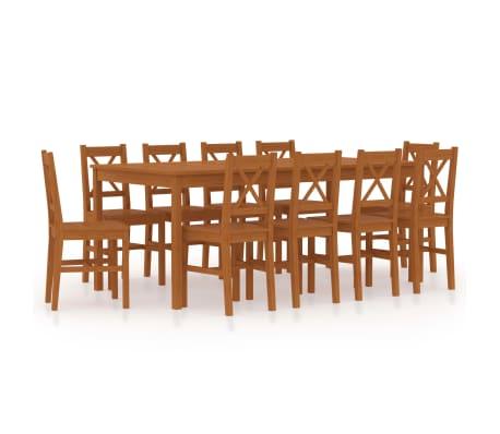 vidaXL 11dílný jídelní set borové dřevo medově hnědý