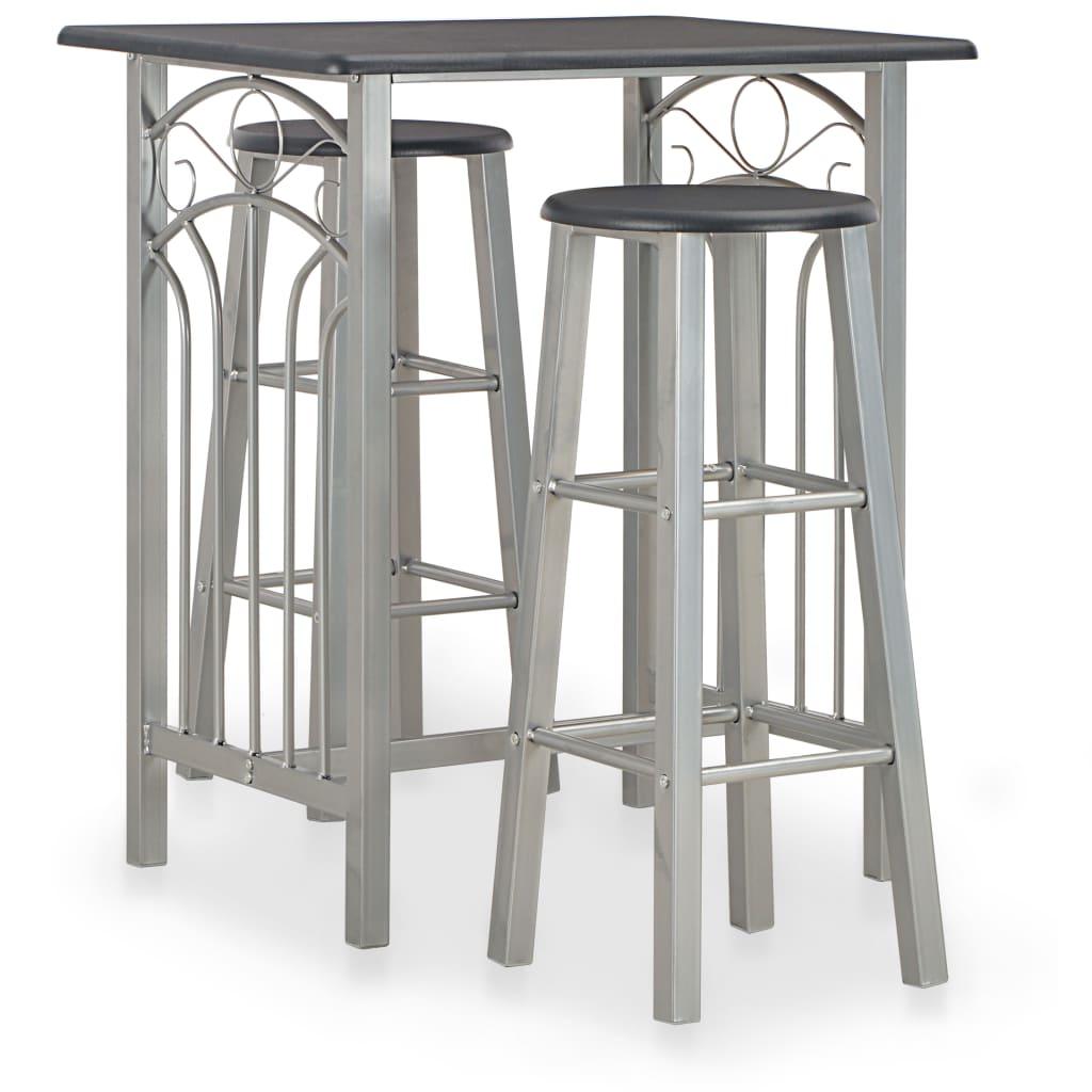 vidaXL 3dílný barový set dřevo a ocel černý