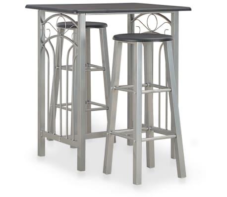 vidaXL Set mesa y sillas altas de cocina 3 piezas madera y acero negro