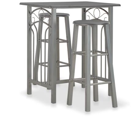 vidaXL Set mesa y sillas altas de cocina 3 pzas madera acero antracita