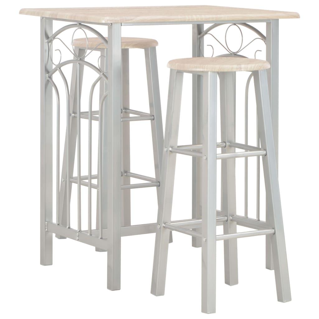 vidaXL 3dílný barový set dřevo a ocel