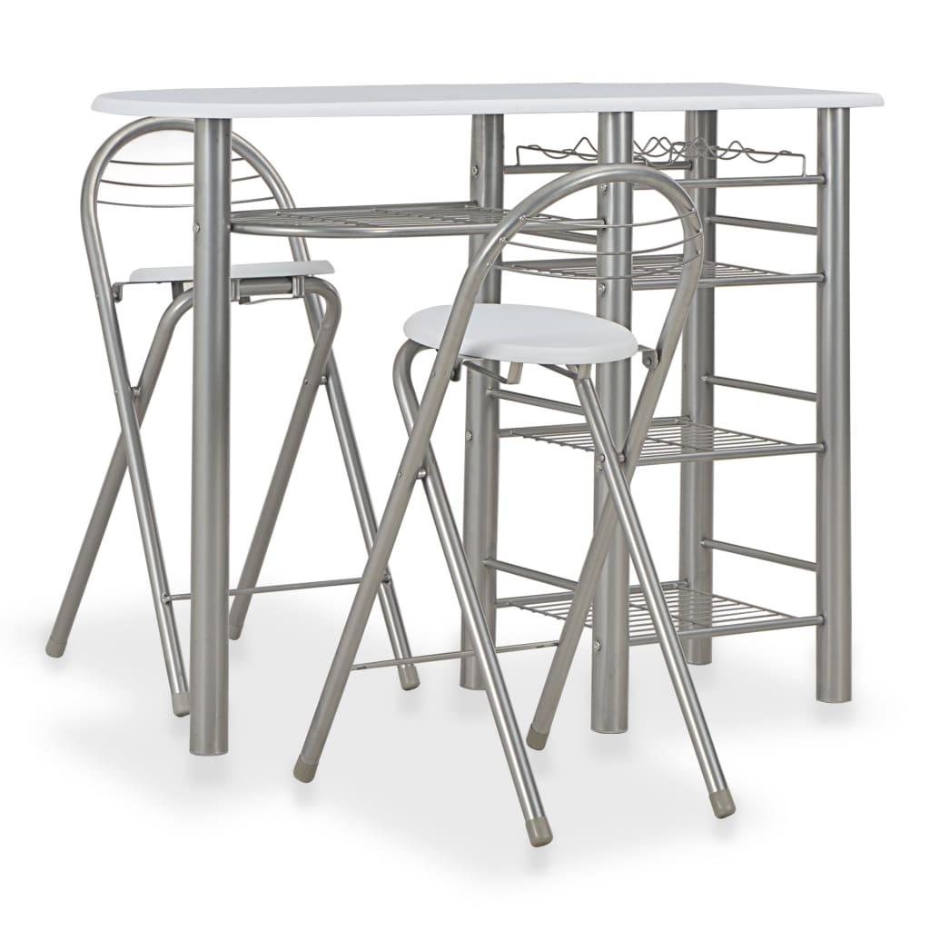 vidaXL 3dílný barový set s policemi dřevo a ocel bílý