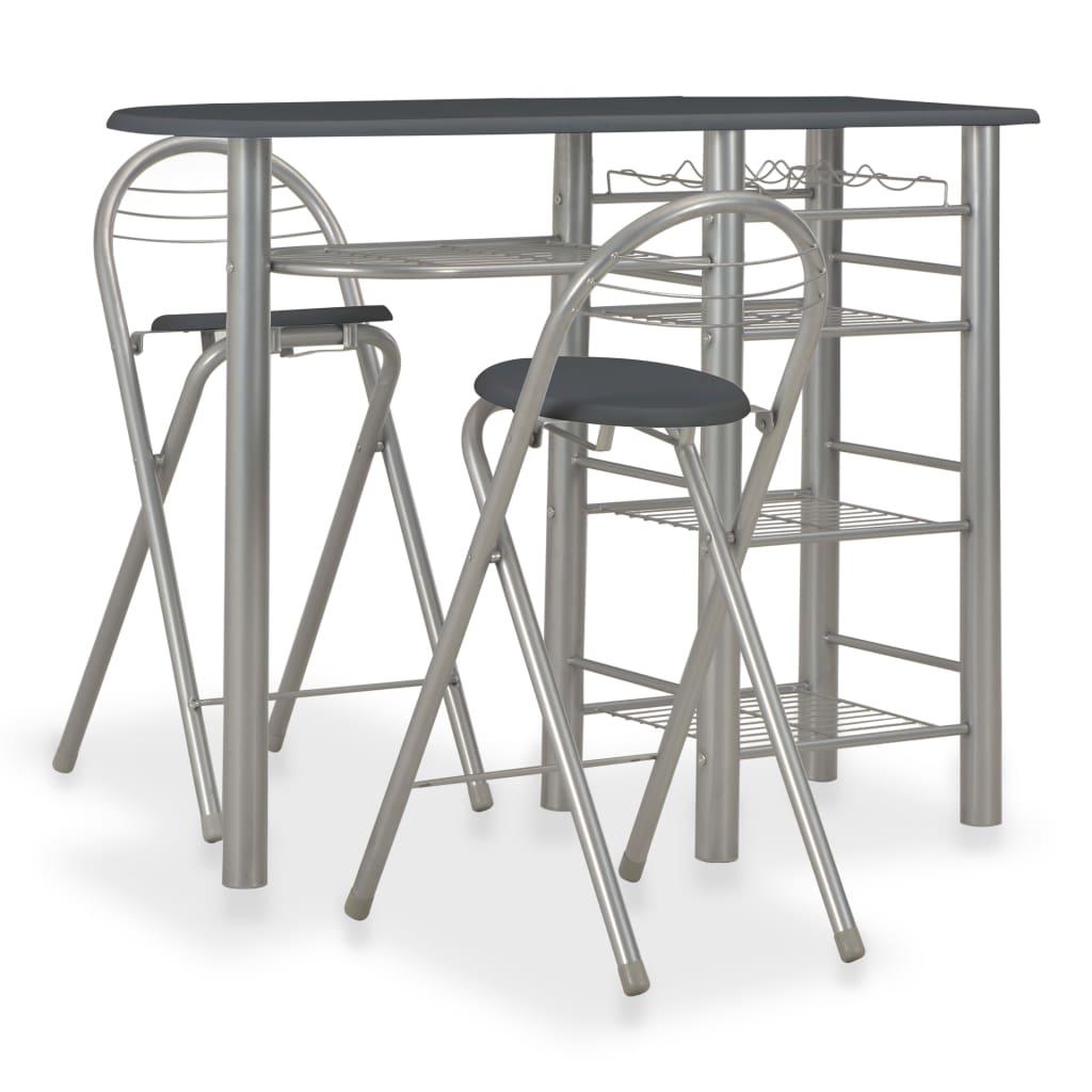 3dílný barový set s policemi dřevo a ocel černý