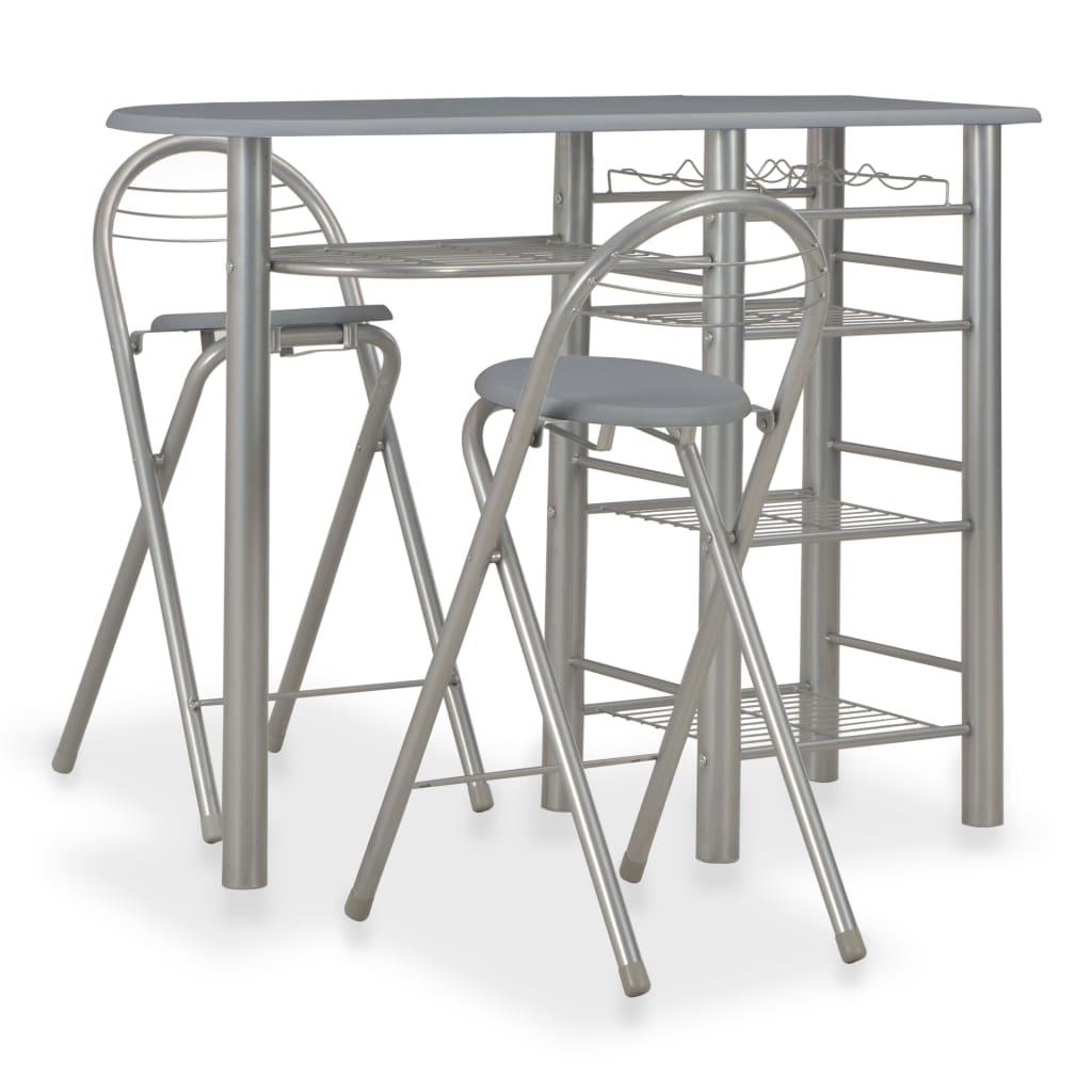 vidaXL 3dílný barový set s policemi dřevo a ocel šedý