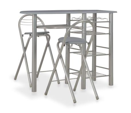 vidaXL 3-delige Barset met schappen hout en staal grijs