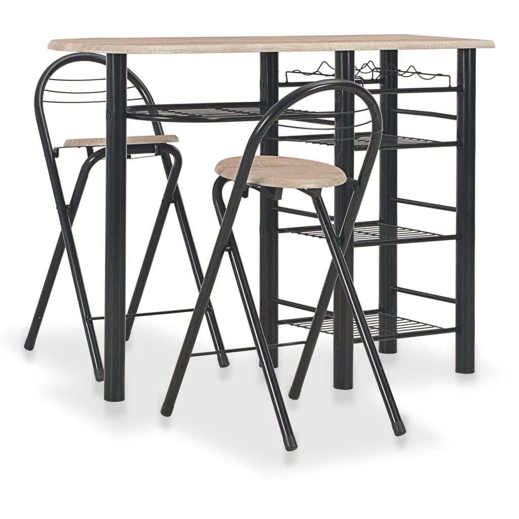 vidaXL 3dílný barový set s policemi dřevo a ocel