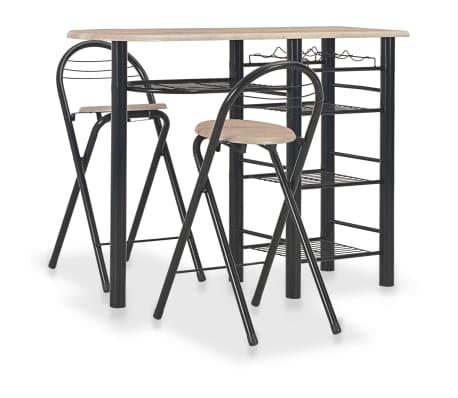 vidaXL 3-delige Barset met schappen hout en staal