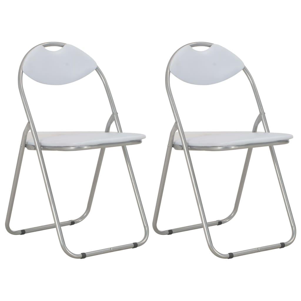 vidaXL Καρέκλες Τραπεζαρίας Πτυσσόμενες 2 τεμ. Λευκές Συνθετικό Δέρμα