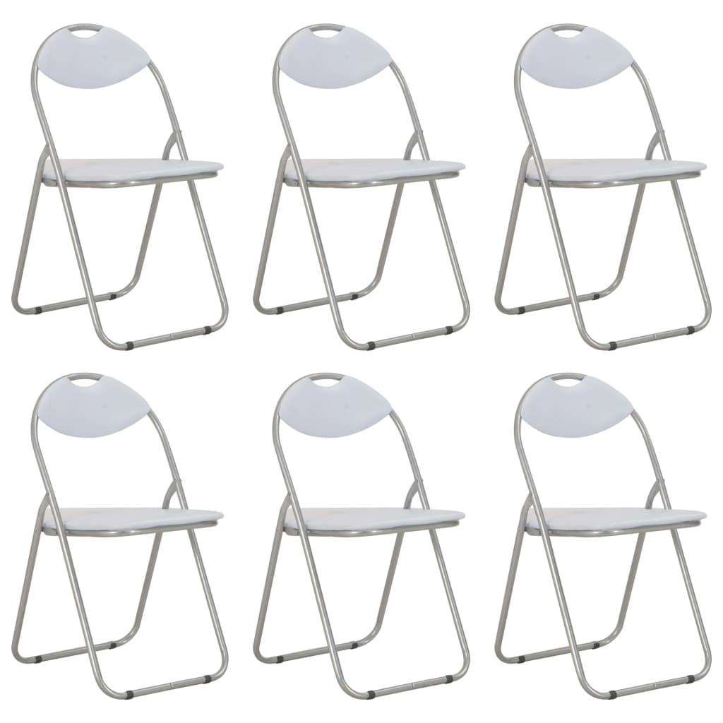 vidaXL Καρέκλες Τραπεζαρίας Πτυσσόμενες 6 τεμ. Λευκές Συνθετικό Δέρμα