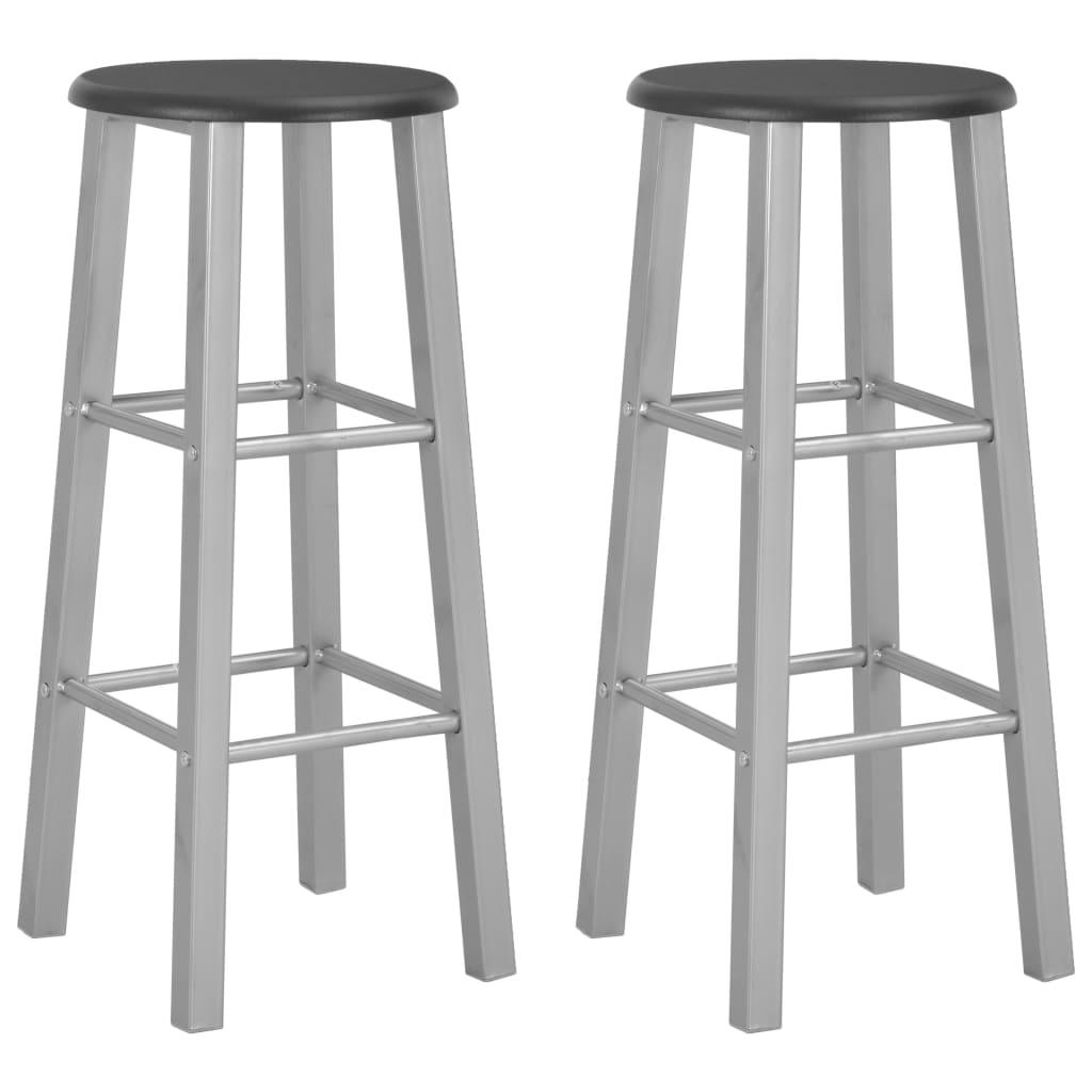 Barové stoličky 2 ks stříbrné MDF