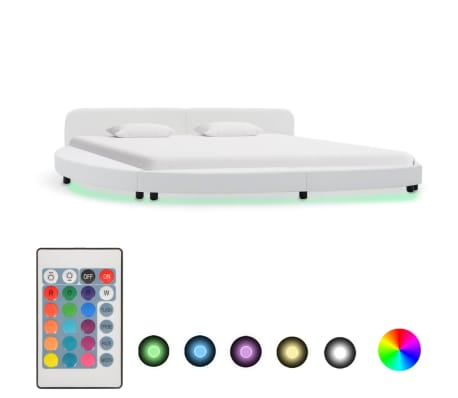 vidaXL Cadru de pat cu LED, alb, 180 x 200 cm, piele ecologică