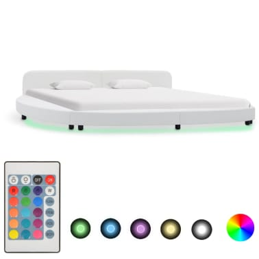 vidaXL Cadre de lit avec LED Blanc Similicuir 180 x 200 cm[1/7]