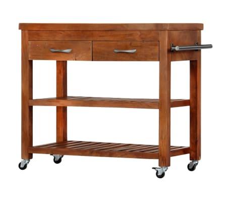 vidaXL Carrito de cocina de madera maciza de acacia 100x48x89 cm