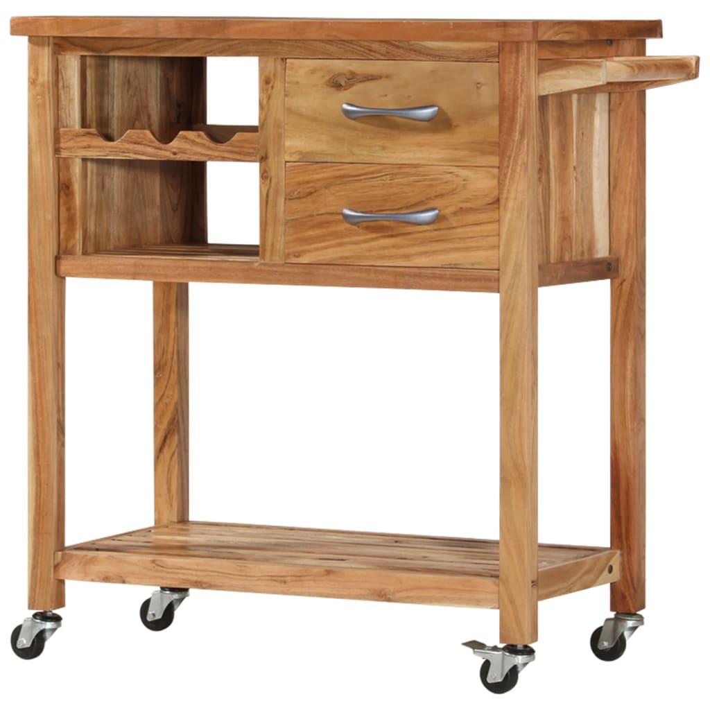 vidaXL Cărucior de bucătărie, 80 x 45 x 91 cm, lemn masiv de acacia poza 2021 vidaXL
