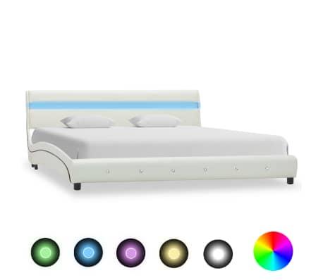 vidaXL Sängynrunko LED-valolla valkoinen keinonahka 150x200 cm