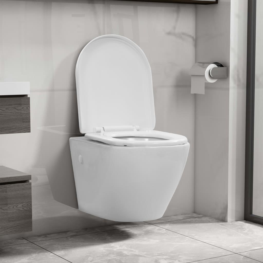 vidaXL Závěsné WC bez okraje keramické bílé