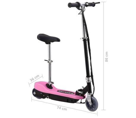 vidaXL Elektrinis paspirtukas su sėdyne, rožinės spalvos, 120 W[10/10]