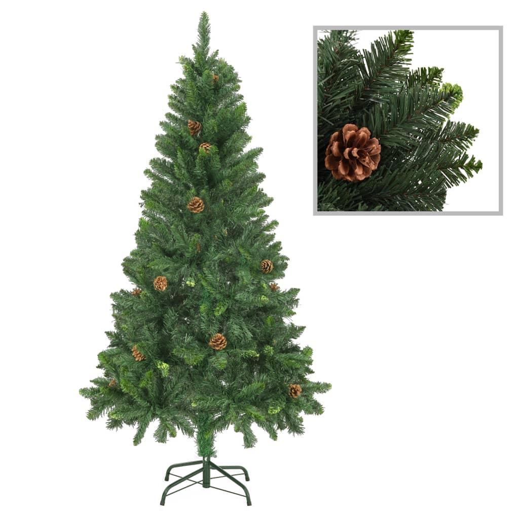 vidaXL Brad de Crăciun artificial cu conuri de pin, verde, 150 cm imagine vidaxl.ro