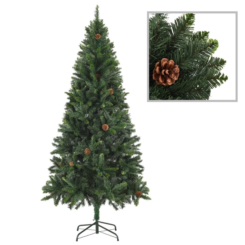 vidaXL Brad de Crăciun artificial cu conuri de pin, verde, 180 cm vidaxl.ro