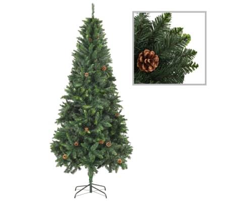vidaXL Artificial Christmas Tree with Pine Cones Green 210 cm